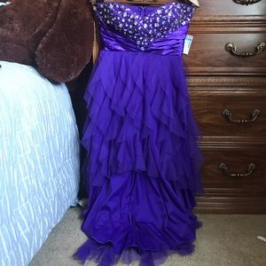 Purple hi-low rhinestone dress